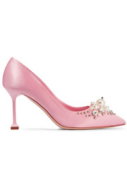 Embellished satin pumps