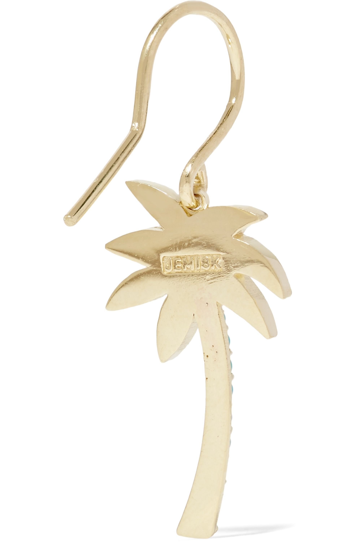 Jennifer Meyer Large Palm Tree 18-karat gold, diamond and turquoise earrings