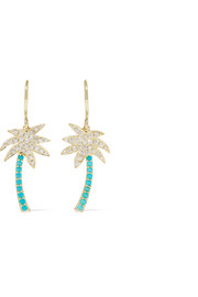 Jennifer Meyer Large Palm Tree 18-karat gold, diamond and turquoise earrings