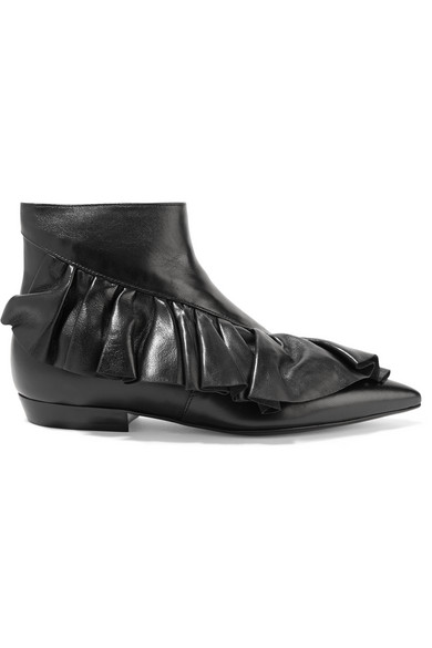 J.W.Anderson - Ruffled Leather Ankle Boots - Black