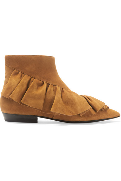 J.W.Anderson - Ruffled Suede Ankle Boots - Tan