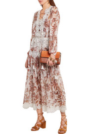 Good Times lace-trimmed printed silk-chiffon dress