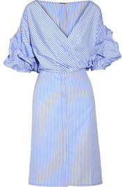 Tuxedo wrap-effect striped cotton-poplin shirt dress