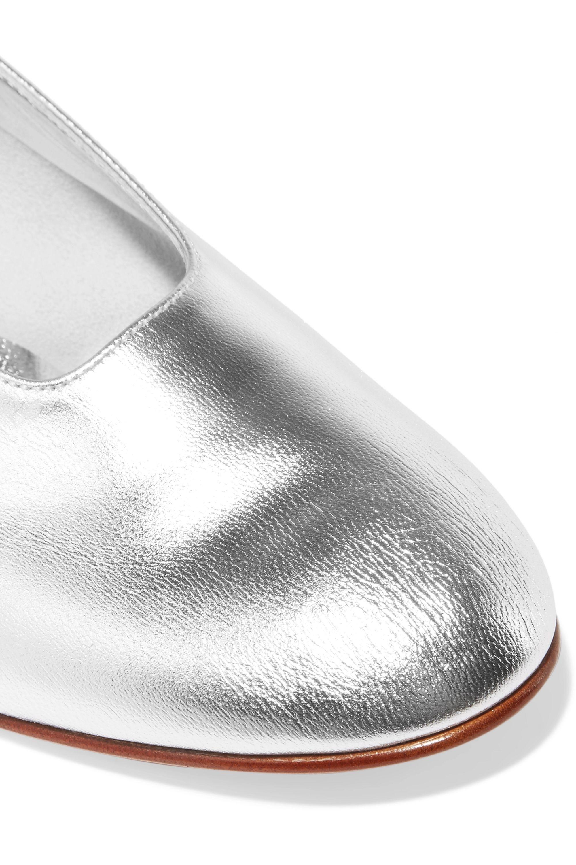 Martiniano High Glove Pumps aus Metallic-Leder