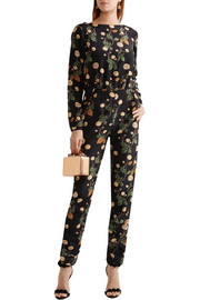 Johnny Cash open-back printed silk-satin jumpsuit