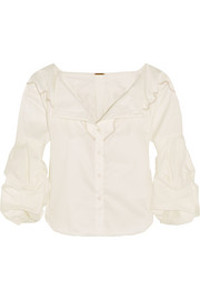 Anna Beth embroidered cotton-twill shirt