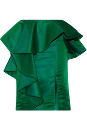 Esmeralda ruffled duchesse-satin skirt