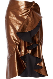 Constantina ruffled leather wrap skirt