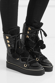 Nicholas Kirkwood Kira shearling-trimmed textured-leather boots