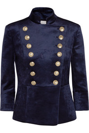 Pierre Balmain Double-breasted stretch-velvet blazer