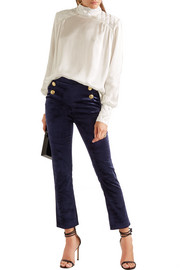 Stretch-velvet skinny pants