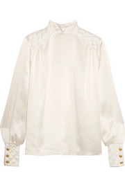Pierre Balmain Quilted silk-satin blouse