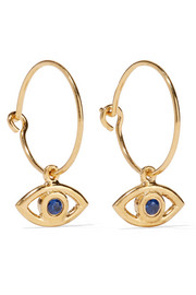 Eye gold-plated cubic zirconia hoop earrings