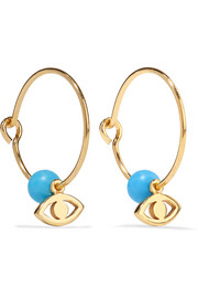 Satelite Eye gold-plated turquoise hoop earrings