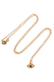 Eye gold-plated cubic zirconia necklace