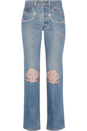 Song of the West embroidered mid-rise straight-leg jeans