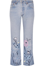 Wild Flower embroidered high-rise straight-leg jeans