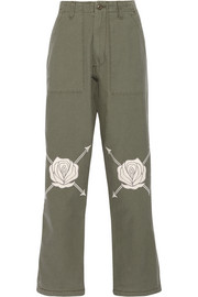 Song Of The East embroidered cotton-twill straight-leg pants