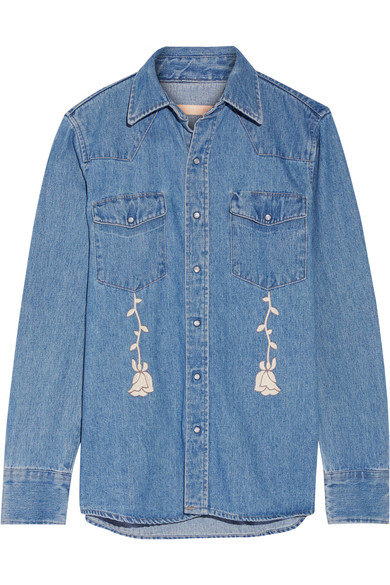 Bliss and Mischief - Conjure Embroidered Denim Shirt - Mid denim