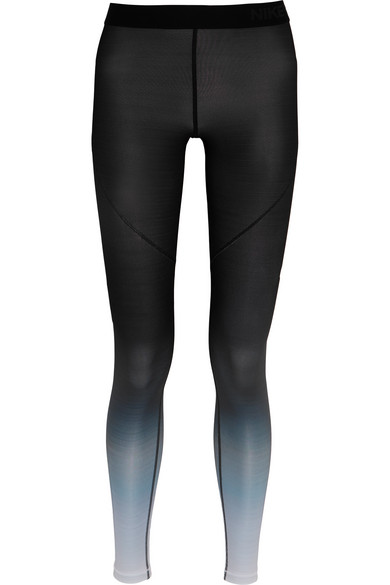 nike pro hyperwarm ombr stretch jersey leggings net a. Black Bedroom Furniture Sets. Home Design Ideas