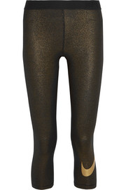Nike Cool cropped metallic stretch-jersey leggings