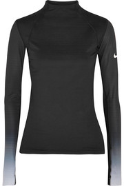 Nike Pro Hyperwarm mesh-paneled cotton-blend jersey top