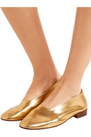 Glove metallic leather pumps