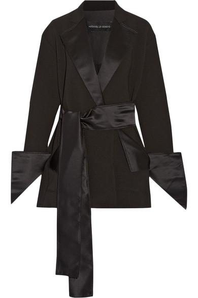 Michael Lo Sordo - Silk Satin-trimmed Crepe Wrap Mini Dress - Black