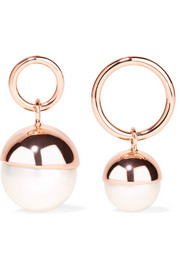 Rose gold-plated faux pearl earrings