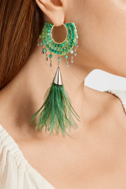 Faggio palladium-tone, quartz and feather earrings