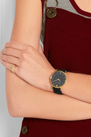Lugano suede and gold-plated watch