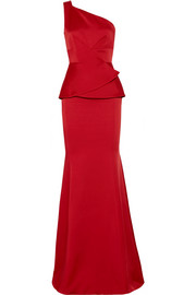 Hogarth one-shoulder hammered-satin gown