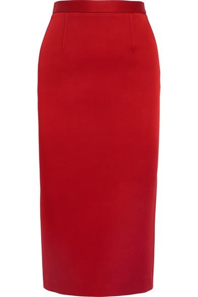 Roland Mouret - Satin Pencil Skirt - Red