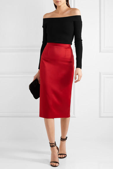 Roland Mouret | Satin pencil skirt | NET-A-PORTER.COM