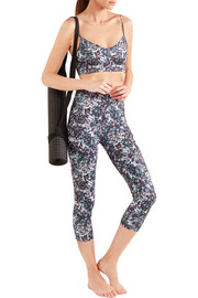 Live The Process Cropped printed stretch-Supplex leggings
