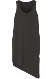 Asymmetric slub modal-blend dress