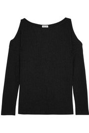 Sylvie cutout ribbed jersey top