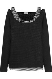 Bardane layered ribbed-knit and striped jersey top