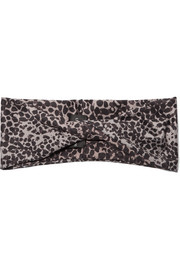 Live The Process Leopard-print stretch-satin headband