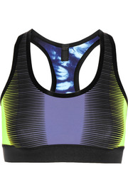Reversible printed stretch-jersey sports bra