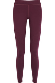 Biker ruched stretch-jersey leggings