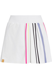 Striped pleated stretch-jersey tennis skirt