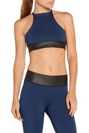Thalia neoprene-trimmed stretch-jersey sports bra