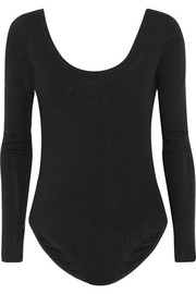 Splendid Luxe ribbed cotton and cashmere-blend bodysuit