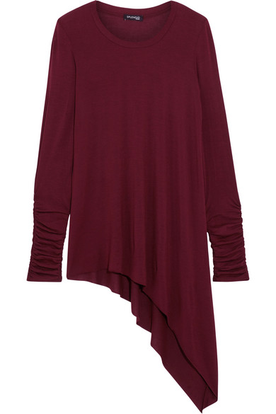 Splendid - Luxe Asymmetric Stretch Micro Modal And Cashmere-blend Top - Burgundy
