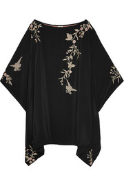 Talitha Embroidered silk kimono mini dress