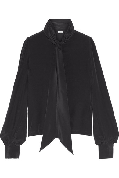 Talitha - Pussy-bow Silk-crepe Blouse - Black