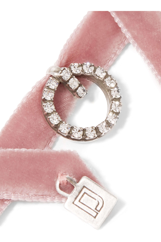 DANNIJO Vix velvet, silver-plated and Swarovski crystal choker