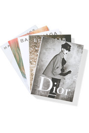 Set of five hardcover books: Dior, Balenciaga, Elie Saab, Chloé, Marc Jacobs