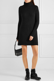 The Elder Statesman Ribbed cashmere turtleneck mini dress